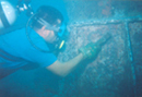 Diver cleaning underwater swivel at Zouk SBM